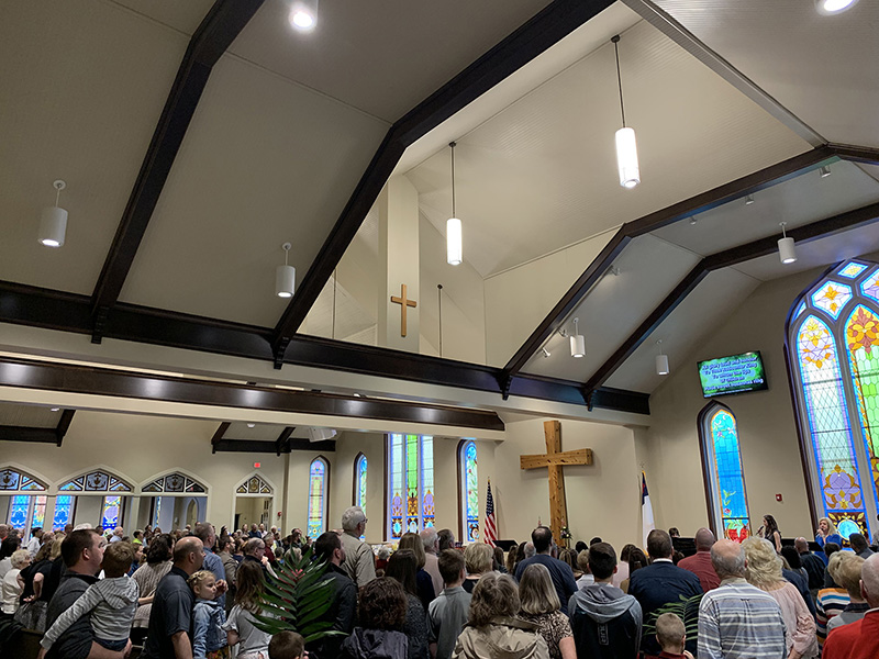 Inside the church during service